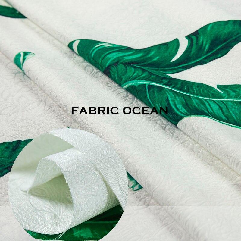 ⑥Jacquard floral patrón impreso hojas verdes, blanco, tela de la ...