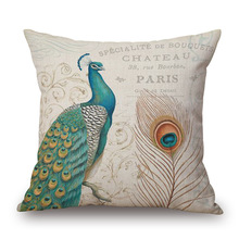 Peacock Blue Design Printed Cushion Cover Tree Branch Pattern Cottom Throw Pillow Case Personal  Decorative Pillowcase  PC091 christmas tree printed decorative thick throw pillowcase