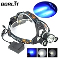 New Promotion Headlamp XMLT6 +XPE Blue LED Head lamp 3Mode Camping Headlight 18650 Recharging for Fishing +AC Charger