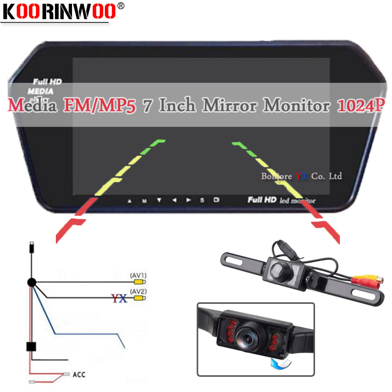 Koorinwoo Wireless 7 TFT LCD Screen 1024 600 Mirror Monitor Bluetooth MP5 with USB SD Slot