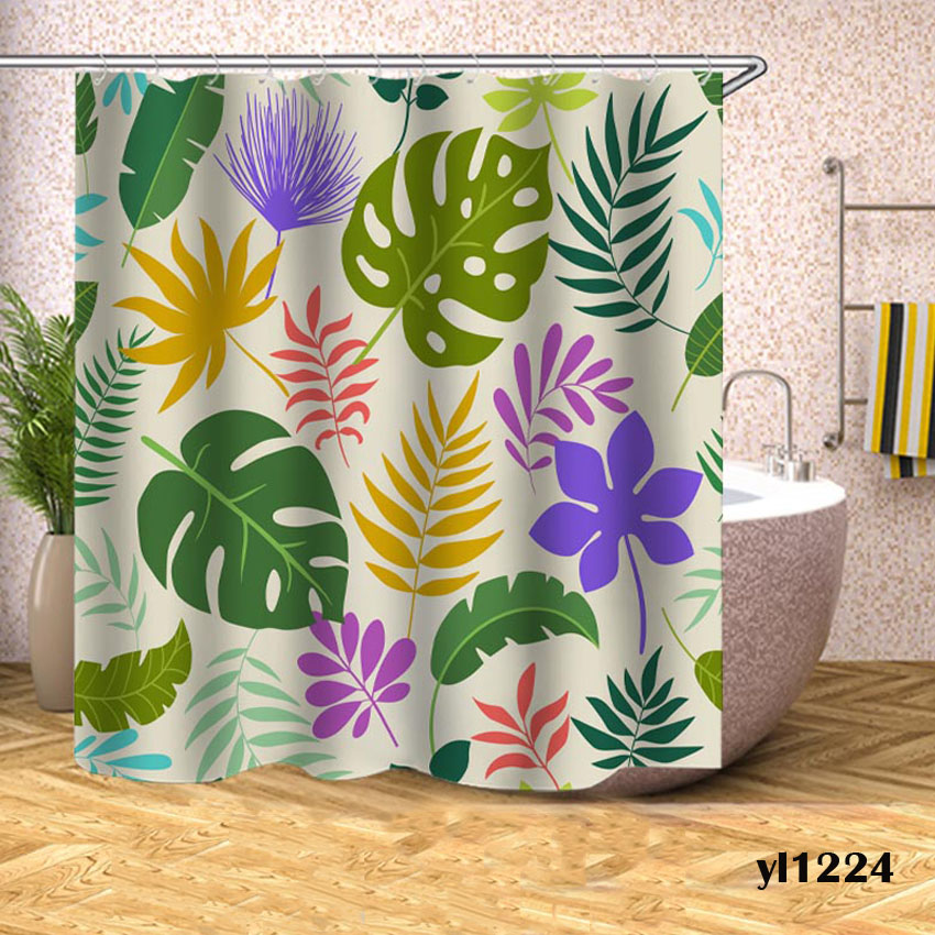 Green Leaves Shower Curtains Waterproof Monstera Bath Curtains For Bathroom Bathtub Large Wide Bathing Cover Rideau De Bain in Shower Curtains from Home Garden