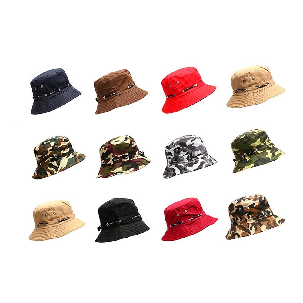 11 Farben Unisex Camouflage Hüte Baumwolle Caps Outdoor Reise Winddicht Fischer Hüte Sonnenschirm Hut Casual Dschungel Runde Hut Sommer