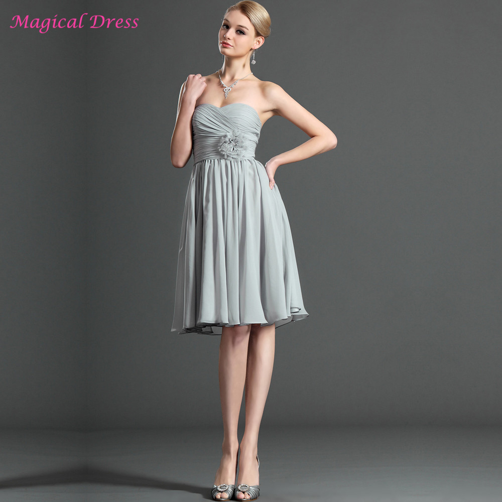 Online get cheap silver knee length chiffon pleat dress silver grey bridesmaid dresses short cheap abito damigella knee length sweetheart wedding bridesmaids party dress chiffon ombrellifo Gallery