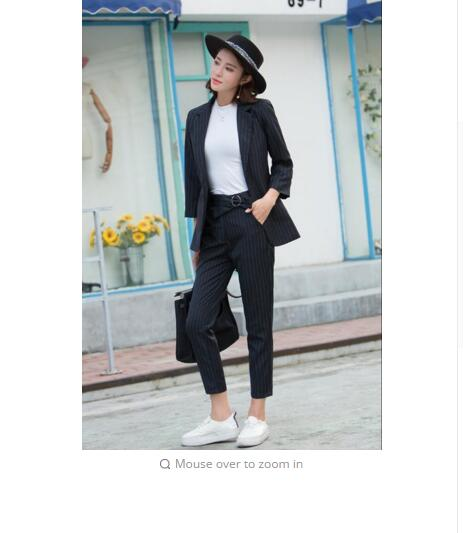 2018 Korean Slim Stripe Temperament Waist Women High End Female All Match Suit elegant