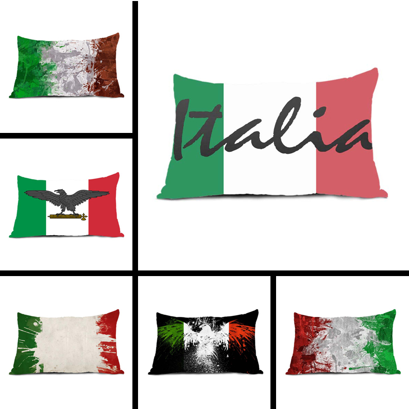 Custom Fashion Italia <font><b>Italian</b></font> Flag Mojo Zippered Rectangle Throw Pillow Protector Pillow Case Cover