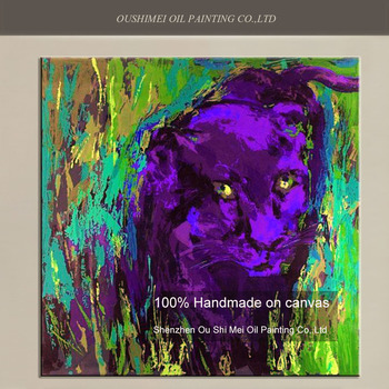 Hand Painted Color Animals Oil Painting on Canvas purple Leopard Wall Painting for Room Decor Grass Landscape Paintings