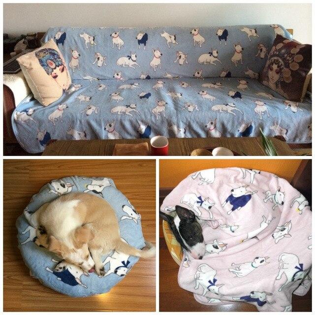 Fleece Bullterrier Dog Blankets Bed Mats Pet Cat Blanket For Sofa Cover