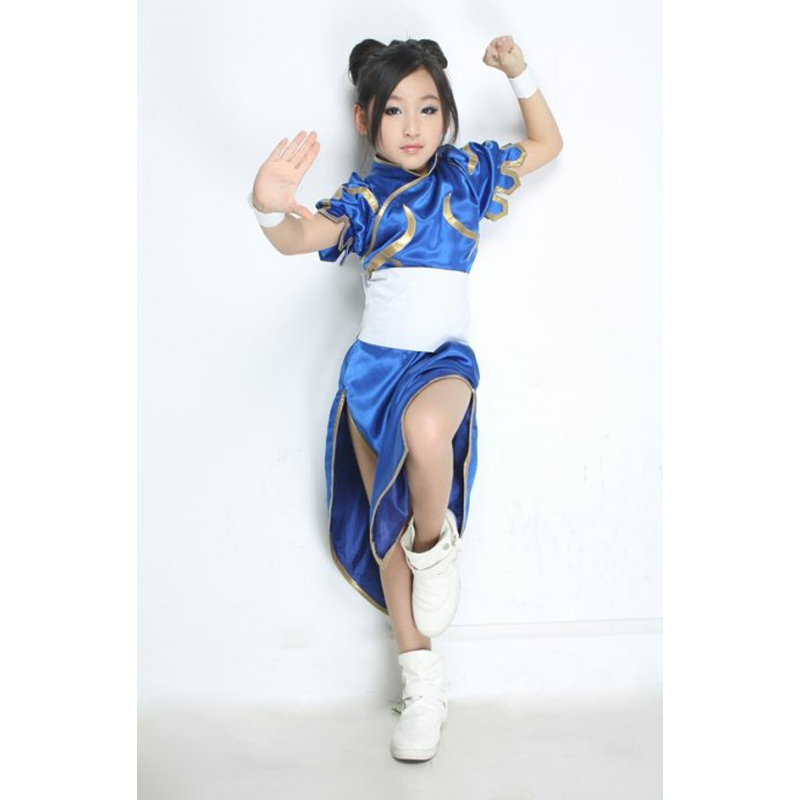 For kids Anime Street Fighter Chun Li Kid Cosplay Dress Costume Girls Children Dress Lolita Filles Small Size Clothes