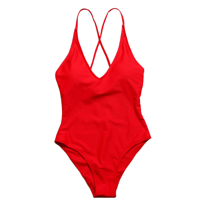 d85ab0340fbd1 Detail Feedback Questions about One piece Swimsuit Red Strappy Cross Bikini  Backless Plunge May female beach Swimwear High Cut Bathing Suit bikini  swimsuit ...