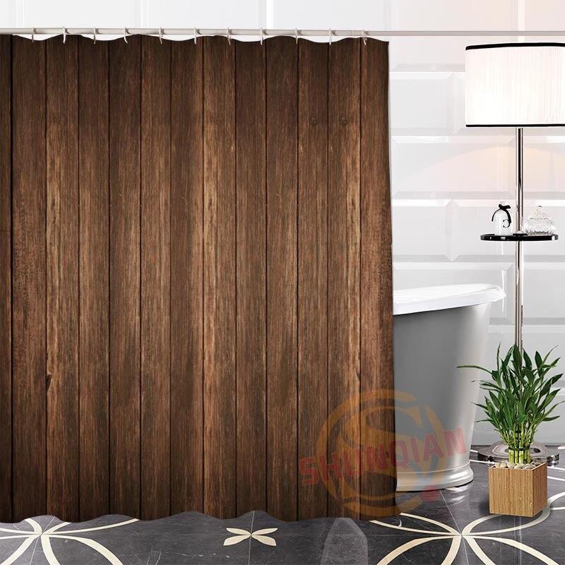 Custom Unique Popular Wood Shower Curtain Eco-friendly Fabric Modern With Hooks Curtains for Bath Decor