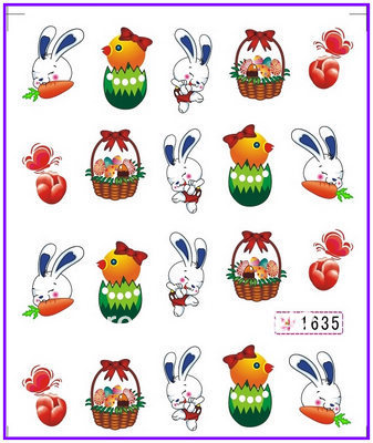 30 PACKS / LOT Nail Art Water Transfers Stickers Nail Decals Sticker Water Decal Easter Day Easter Bunny  Easter Egg art