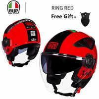 Verano nuevo casco de motocicleta de doble lente medio rostro ABS casco de motocicleta casco eléctrico de seguridad para mujeres/hombres Moto Casque RED