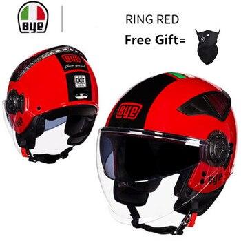 цена на Summer New Double Lens Motorcycle Helmets Half Face ABS Motorbike Helmet Electric Safety Helmet For Women/Men Moto Casque RED