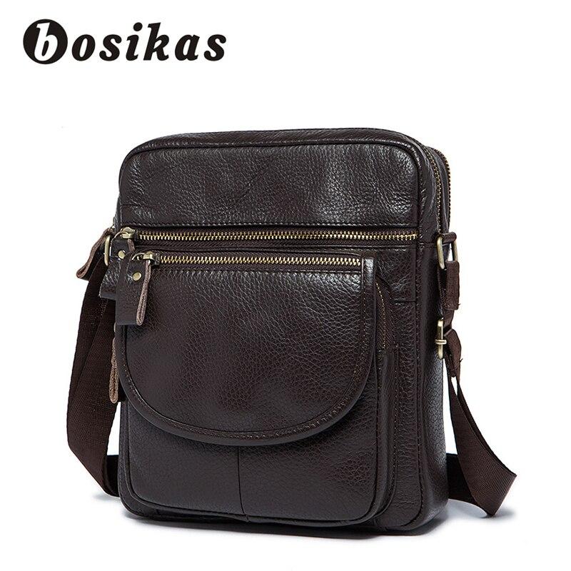 BOSIKAS Men Bags Genuine Leather Business Male Messenger Bag Mens Small Zipper Flap Man Casual Crossbody Bags Shoulder Handbag