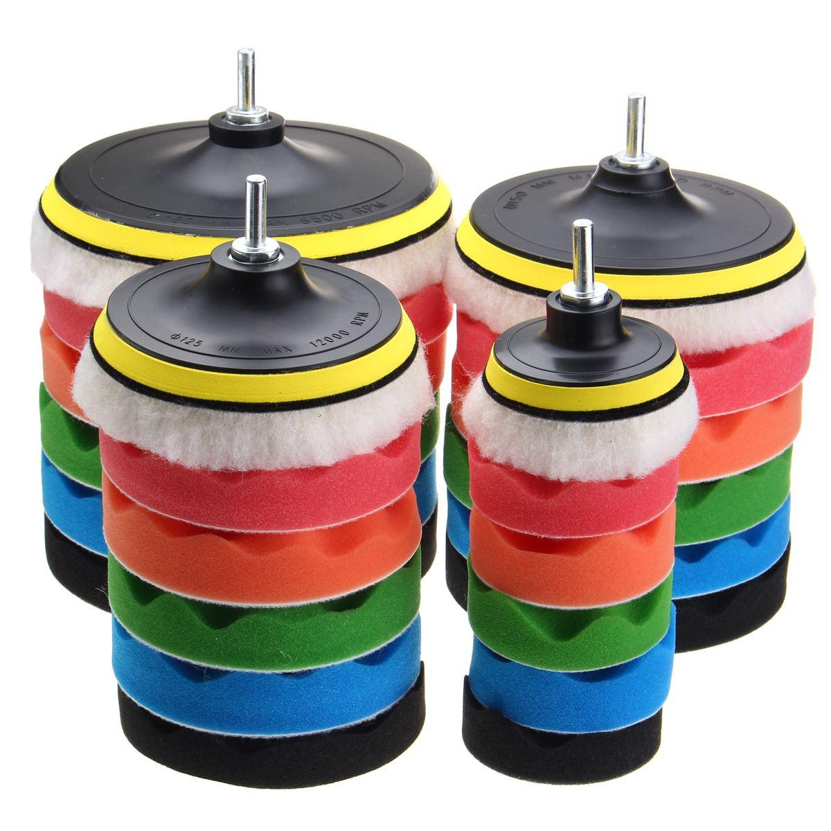 """7pcs 3""""5""""6""""7""""sponge Polishing waxing Buffing Pads Kit Compound-Polishing-Auto Car Drill Adapter"""