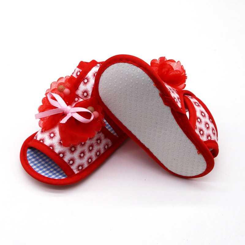 2019 Bé mùa hè dép nơ hoa bé cô gái dép bé in bé giày mềm dưới cùng giày