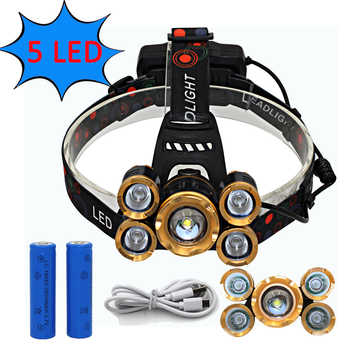 USB Rechargeable Headlamp Zoom Headlight Zoomable Head Lamp 5 LED T6 Q5 Flashlight Lanterna + 18650 Battery + USB Charger line - DISCOUNT ITEM  41 OFF Lights & Lighting