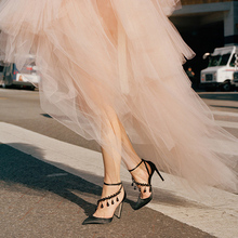 Feminine Pumps Pointed Toe Silk Fabric Shoes Crystal Drops Sexy Black Cover Heel Ankle Buckle Stiletto Dress