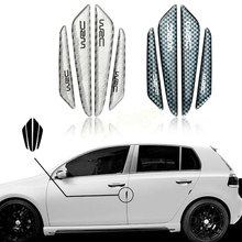 4pcs carbon fiber Car Styling Door Decoration Strip General Car Crash Bar Anti-Rub Protection Stickers Accessories HA10697