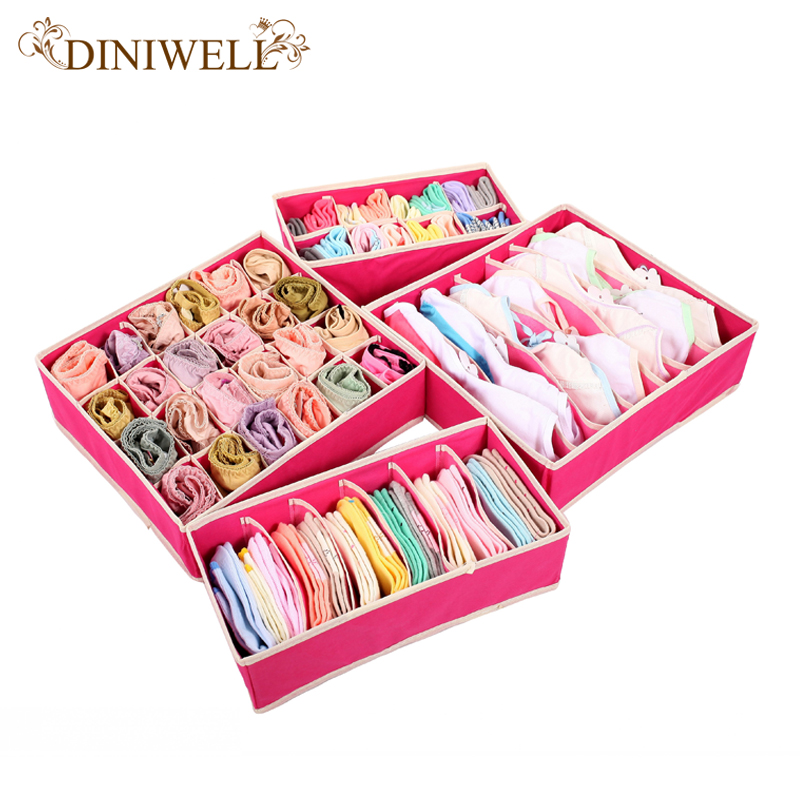 DINIWELL 4PCS Storage Boxes For Ties Socks Shorts Bra Underwear Divider Drawer Lidded Closet Organizer Ropa Interior Organizador