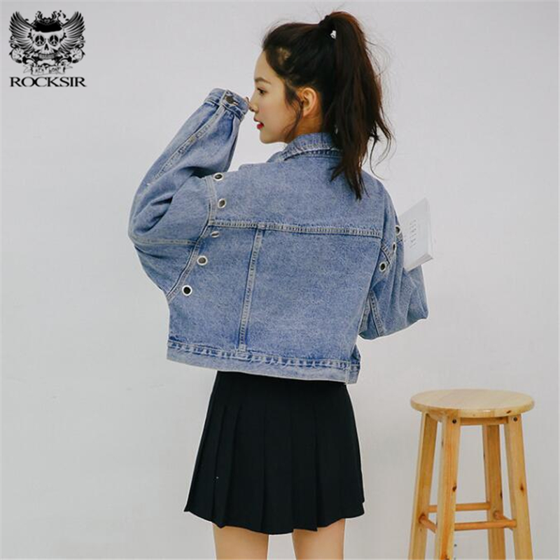 9c647454c47 Rocksir Spring Short Denim Jacket Women 2018 Vintage Harajuku Oversized  Jeans Coat Girls Loose Cropped Jacket Bomber Outerwear-in Basic Jackets  from Women s ...