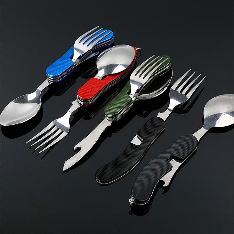 Tenedor,Cuchara,Cuchillo Acero Inoxidable Pegable para Camping,Supervivencia