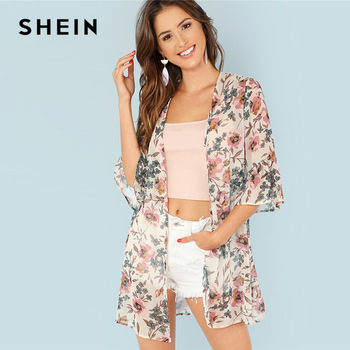 SHEIN, vacaciones Multicolor, bohemio, playa, estampado Floral, manga de volantes, Kimono largo para verano, mujeres, fin de semana, blusa informal, Top