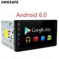 Quad core GPS 2 Din Android 6.0 Carro DVD Player de Rádio com navegação 2 din Stereo vídeo 1024*600 Autoradio Universale duplo din