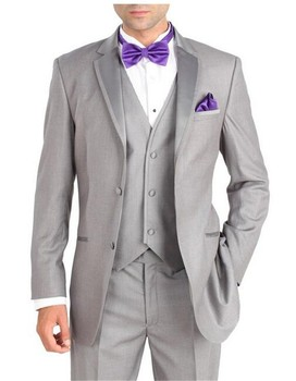 Custom Made Groom Tuxedos Light Grey Groomsmen Notch Lapel Wedding/Dinner Suits Best Man Bridegroom (Jacket+Pants+Tie+Vest) B579