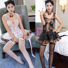 Sexy costumes women lingerie sets headwear + tie+dress + stockings sets cat women cosplay costumes hot sex products intimates(China)