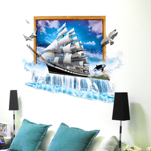 SHIJUEHEZI Sailing Ship Birds 3D Wall Stickers DIY PVC Boat Wall Poster for Kids Bedooms Living Room Home Decoration