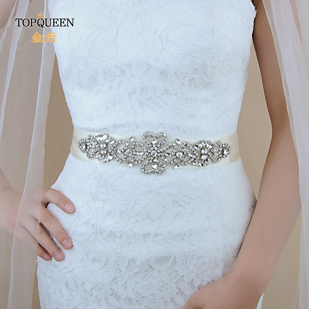 TOPQUEEN S168 Women's Caftan Belts For Wedding Dresses Crystal Bridal Belt Wedding Dress Belts Pearl Belts Bridal Appliques
