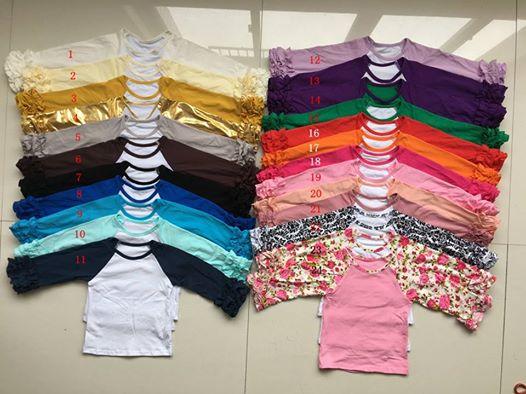 2553bc99 Fall Winter DIY Blanks Ruffle Cuff Sleeve Raglan T-Shirt Girls Monogram  Ruffle Sleeve Raglan