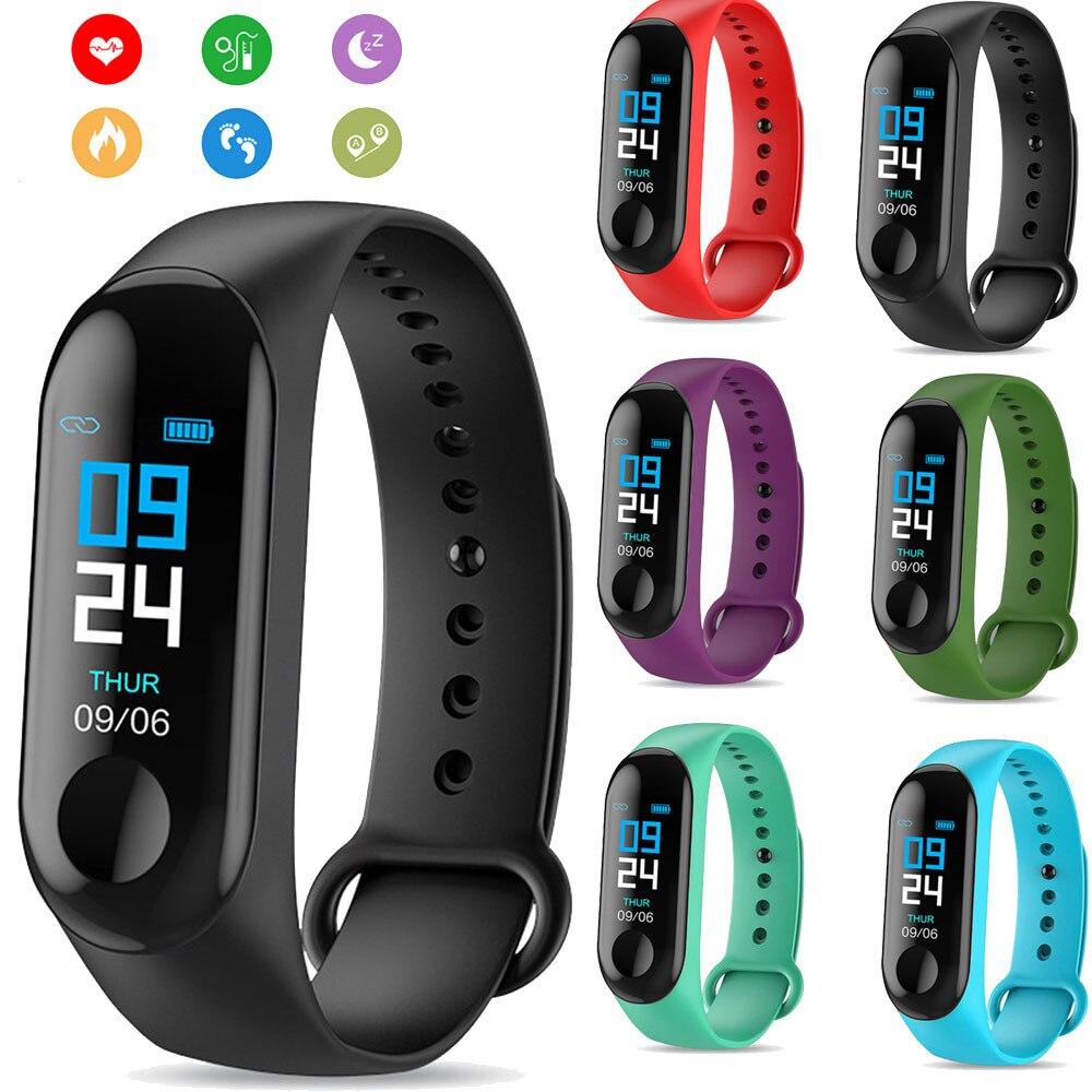 M3 Bracelet intelligent bande Fitness Tracker fréquence cardiaque Messages de pression artérielle rappel couleur écran étanche Sport Bracelet