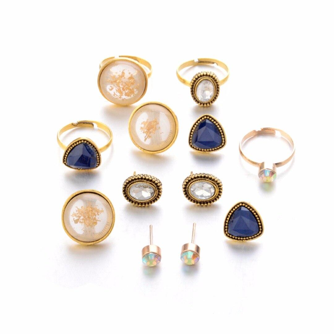 4 pcs Shellhard Triangle Stone Jewelry Set Fashion Crystal Gold Ring Ear Stud Earring Sets anel masculino bijoux female