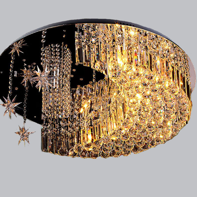 Crystal combination LED warm ceiling lamps living room childrens bedroom star moon creative ceiling lights ZA
