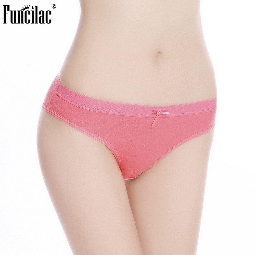 FUNCILAC Women Underwear Solid Briefs Cotton Soft Woman Panties Sexy Ladies Intimates Lingerie Female Underpants 1 piece