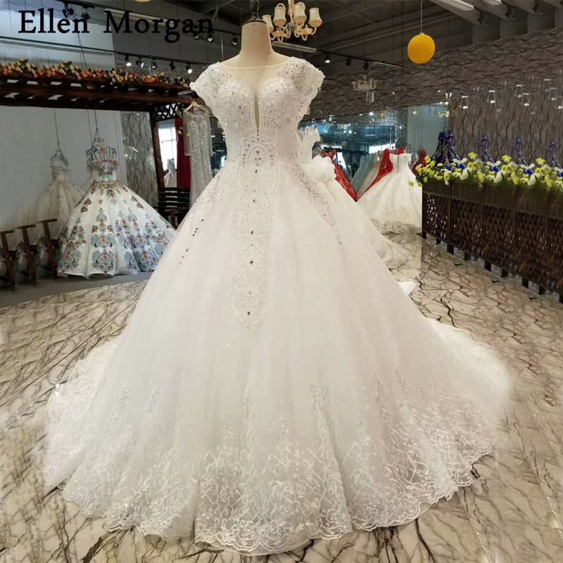 Vintage Lace Ball Gowns Wedding Dresses Real Photo Puffy