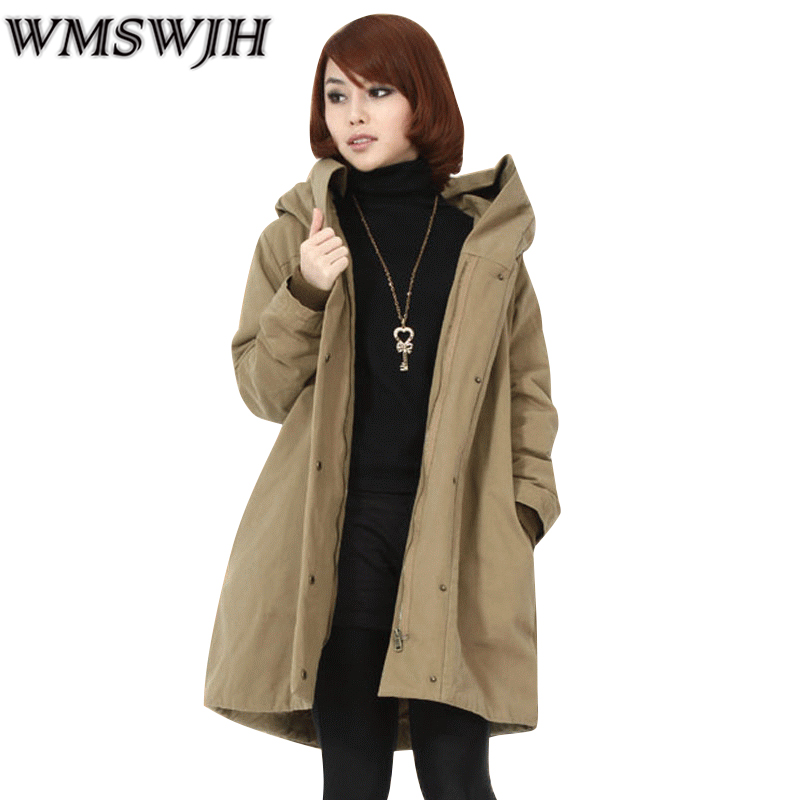 2017 Winter Women Coat Warm Down Cotton Padded Jacket Thick Hooded Outwear Plus Size Parkas Female Loose Medium-long Coats winter students women coat new style loose big yards jacket long sleeve medium long hooded jacket thick cotton warm coats g2707