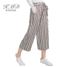 KMD KOMODA Women Pants Striped High Waist Belt Tie Waist Pants Streetwear Elegant Office Ladies Loose Basic Brief Pants