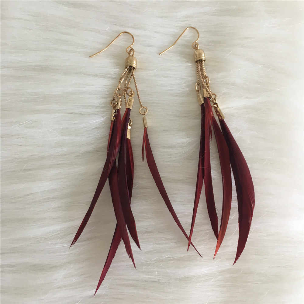 GIRLY EARRINGS   GOLD COLOR BURGUNDY BLACK FEATHER DROP EARRING FOR WOMEN GIRL