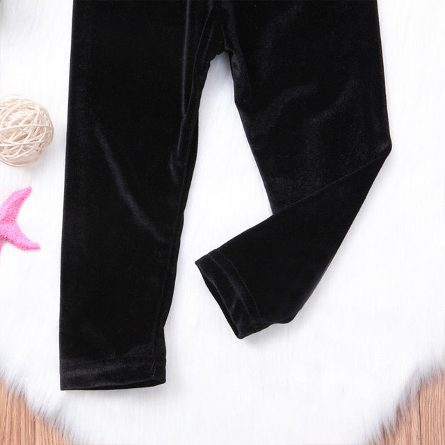 2018 Brand New Toddler Infant Child Kids Baby Girls Bottom Pleuche Pants Kid Long Flare Trousers Legging Solid Retro Pants 6M-4T