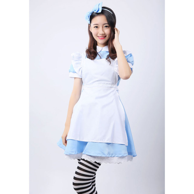 Umorden Alice in Wonderland Costume Lolita Dress Maid Cosplay Fantasia Carnival Halloween Costumes for Women 2