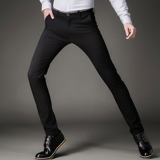 af8576ff2cd2 Earoomze Fashion 2018 Spring Mens Dress Suits Pants Korean Slim Fit Skinny Black  Trousers Man Casual Tight Stretch Work Pants