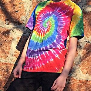 Image 5 - Plegie Tie Dye T shirt Unisex 2020 Summer Hip Hop Round Neck Mens Irregular pattern Tshirts 100%cotton Loose Tee Shirts