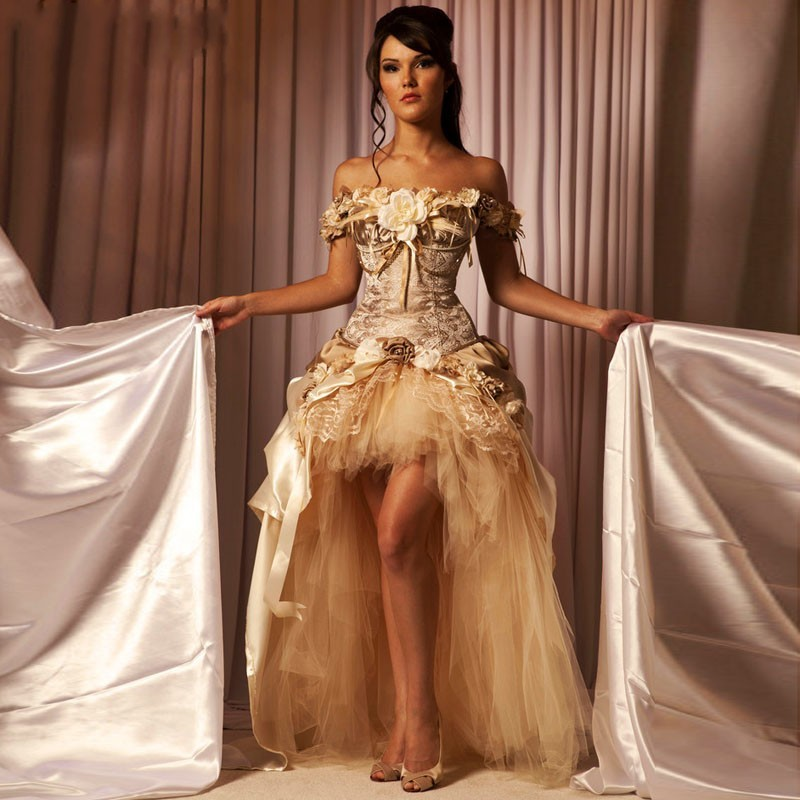 High Low Gothic Champagne Prom Dresses Floral Flower Handmade Western Modern Victorian Masquerade Dress for Halloween
