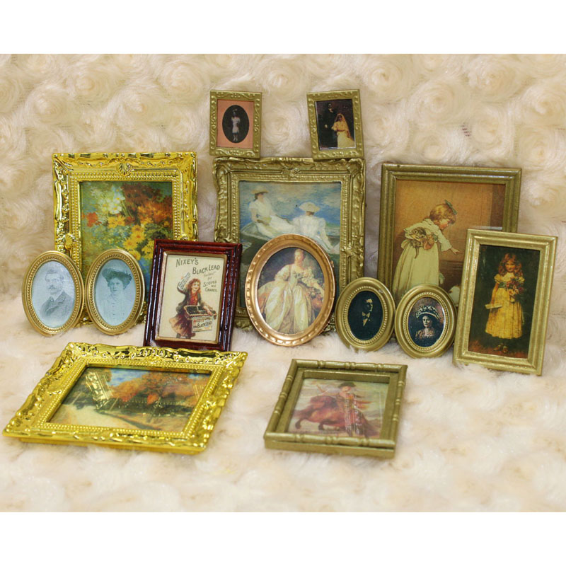 Cute 1:12 Doll House Miniature Flower Oil Painting Home Room Accessories