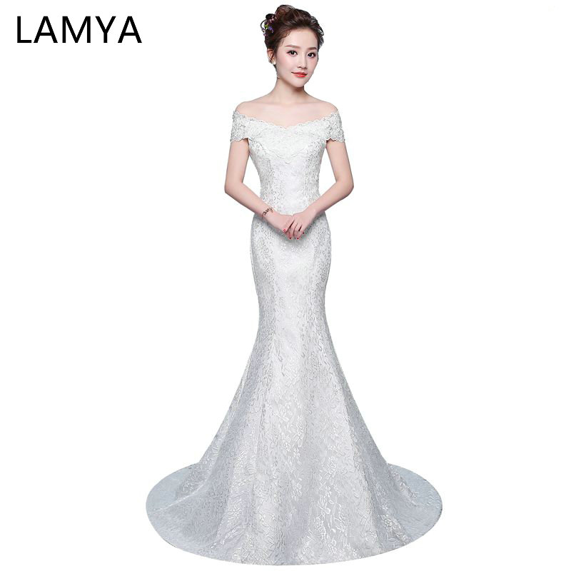 Cheap Mermaid Wedding Dresses 2019 Long Lace Vintage Bridal Gown Princess Plus Size Vestidos De Noiva Open Back Wedding Dress