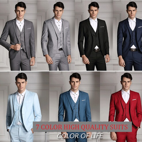 Colorful 2015 Luxury Mens Wedding Suits Contain Blazer Pants Vests ...