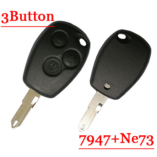 433mhz 3 Button Remote Key With NE73 Blade Round Button with PCF7947 Chip for renault 5